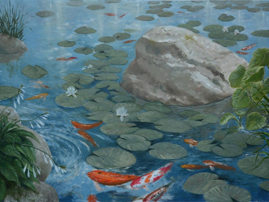 Koi Pond | Oil on Canvas